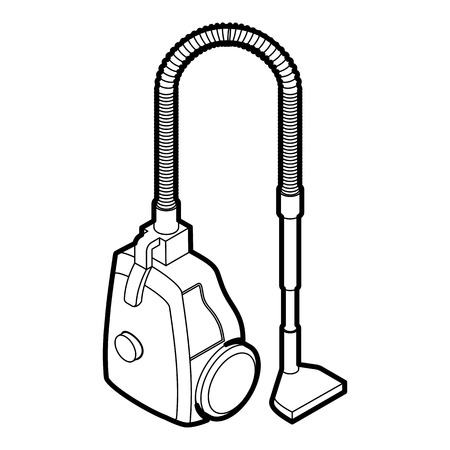 electric broom: Vacuum cleaner icon in outline style on a white background vector illustration