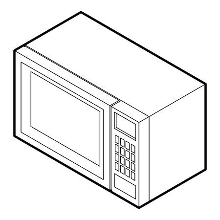 defrost: Microwave icon in outline style on a white background vector illustration Illustration