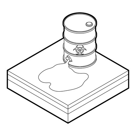 barrels with nuclear waste: Toxic waste spilling from barrel icon in outline style on a white background vector illustration