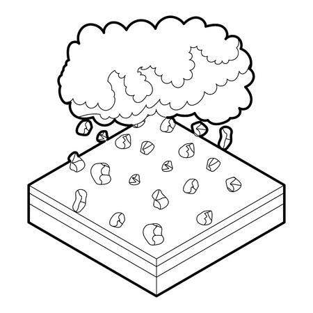 hailstone: Cloud and hail icon in outline style on a white background vector illustration Illustration
