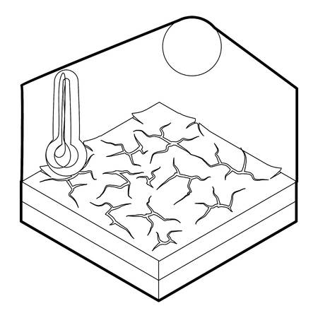 Drought icon in outline style on a white background vector illustration