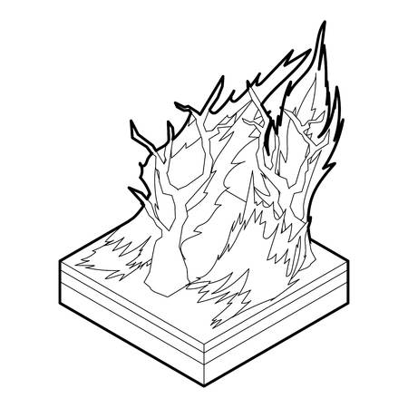 Forest fire icon in outline style on a white background vector illustration