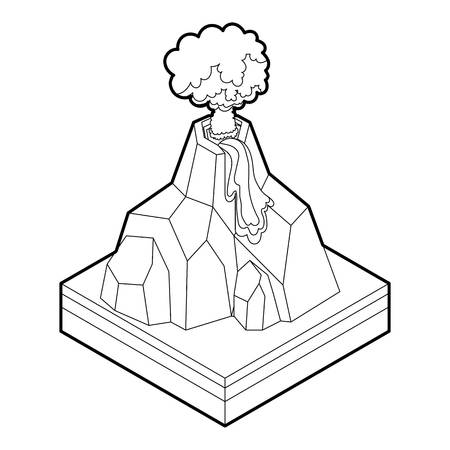 erupting: Volcano erupting icon in outline style on a white background vector illustration Illustration