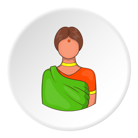 Indian female icon in cartoon style isolated on white circle background. People symbol vector illustration