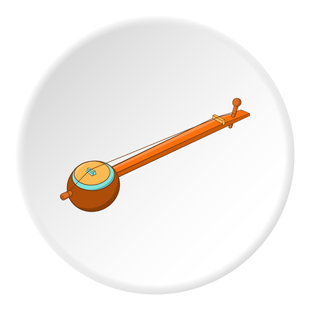 Sitar icon in cartoon style isolated on white circle background. Musical instrument symbol vector illustration Illustration