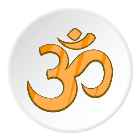 Om sign icon in cartoon style isolated on white circle background. Religion symbol vector illustration