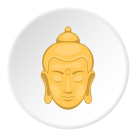 thai buddha: Buddha statue icon in cartoon style isolated on white circle background. Religion symbol vector illustration