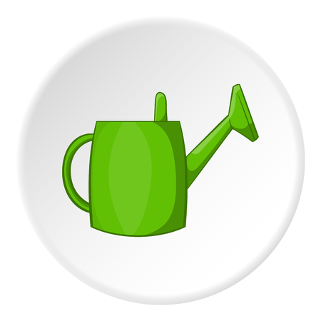 Watering can for garden icon in cartoon style isolated on white circle background. Gardening symbol vector illustration