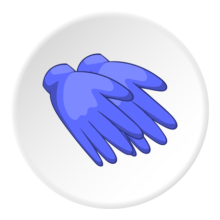 Rubber gloves icon in cartoon style isolated on white circle background. Hand protection symbol vector illustration Illustration