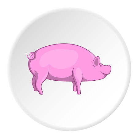 grunt: Pig icon in cartoon style isolated on white circle background. Animals symbol vector illustration