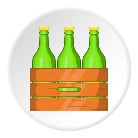 Box of beer icon in cartoon style isolated on white circle background. Alcoholic beverage symbol vector illustration Illustration