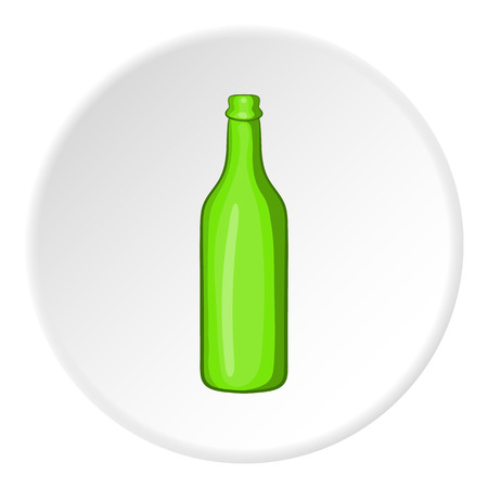 alcoholic beverage: Beer bottle icon in cartoon style isolated on white circle background. Alcoholic beverage symbol vector illustration