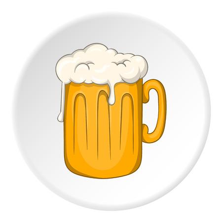 白い円の背景に分離された漫画のスタイルでビール アイコンつきマグカップ。アルコール飲料のシンボル ベクトル図  イラスト・ベクター素材