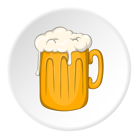 Mug with beer icon in cartoon style isolated on white circle background. Alcoholic beverages symbol vector illustration Illustration