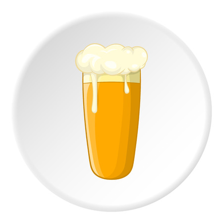 intoxication: Glass of beer icon in cartoon style isolated on white circle background. Alcoholic beverages symbol vector illustration Illustration