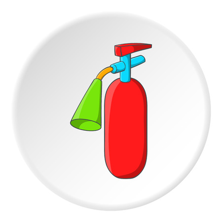 suppression: Fire extinguisher icon in cartoon style isolated on white circle background. Equipment fire symbol vector illustration