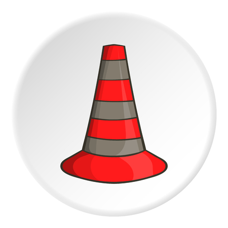 Safety cones icon in cartoon style isolated on white circle background. Fence symbol vector illustration