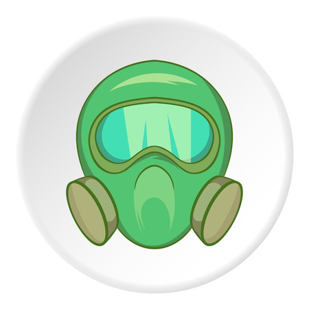 Gas mask icon in cartoon style isolated on white circle background. Equipment symbol vector illustration Illustration