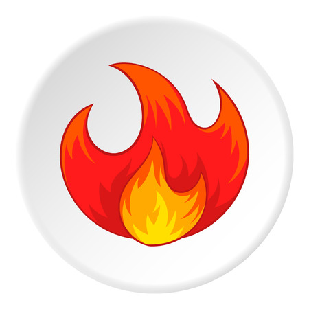 Fire icon in cartoon style isolated on white circle background. Burning symbol vector illustration