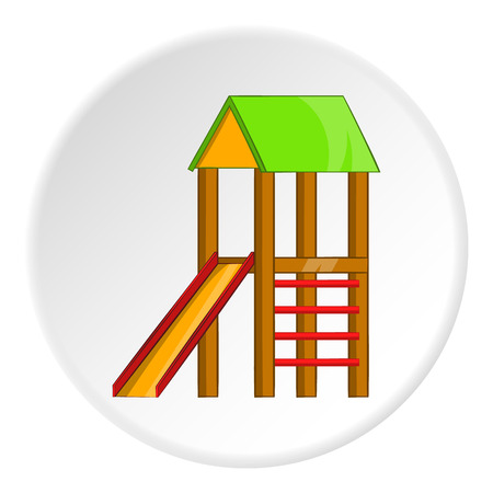 kiddies: Slide house icon in cartoon style isolated on white circle background. Entertainment for children symbol vector illustration