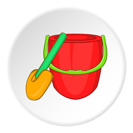 Childrens bucket with shovel icon in cartoon style isolated on white circle background. Entertainment for children symbol vector illustration