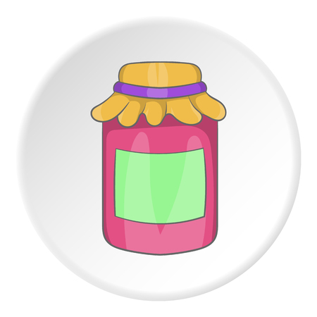 marmalade: Bank of jam icon in cartoon style isolated on white circle background. Food symbol vector illustration
