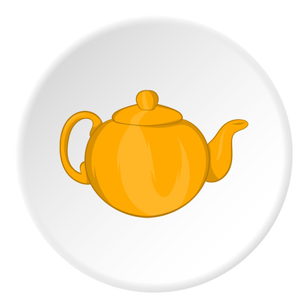 Kettle for tea icon in cartoon style isolated on white circle background. Utensils symbol vector illustration