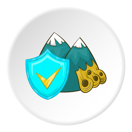 avalanche: Avalanche in mountains and sign safety icon in cartoon style isolated on white circle background. Accident prevention symbol vector illustration Illustration