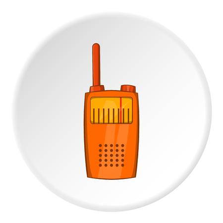 Radio transmitter icon in cartoon style isolated on white circle background. Communication symbol vector illustration