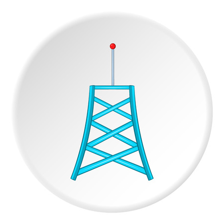 cell phone transmitter tower: Cell phone tower icon in cartoon style isolated on white circle background. Connection symbol vector illustration
