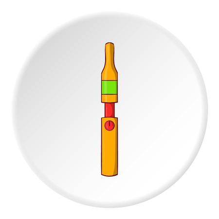 Electronic cigarette icon in cartoon style isolated on white circle background. Smoking symbol vector illustration