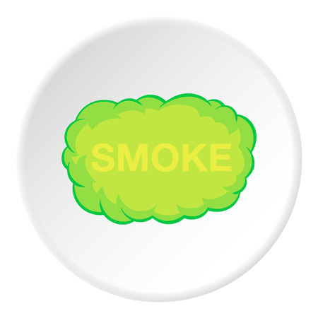 Cloud of smoke icon in cartoon style isolated on white circle background. Pollution symbol vector illustration Illustration