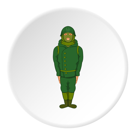 militant: Spy icon in cartoon style isolated on white circle background. Military symbol vector illustration
