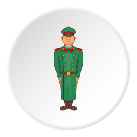 Soldiers in uniform icon in cartoon style isolated on white circle background. Military symbol vector illustration