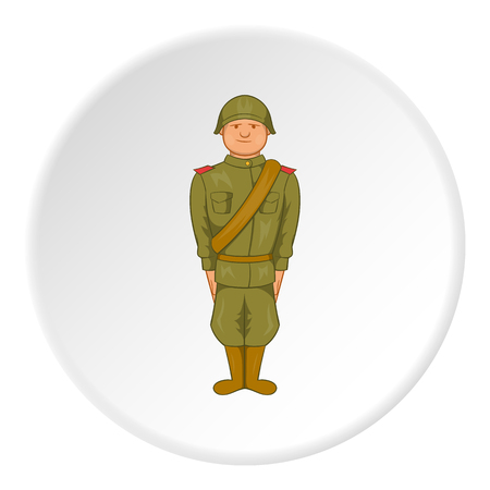 Soldier icon in cartoon style isolated on white circle background. Military symbol vector illustration
