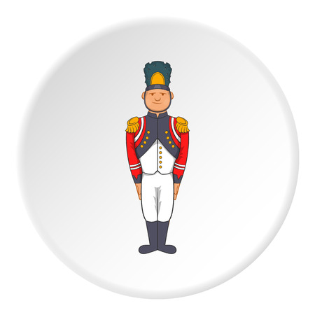 militant: French soldiers in uniform icon in cartoon style isolated on white circle background. Military symbol vector illustration Illustration