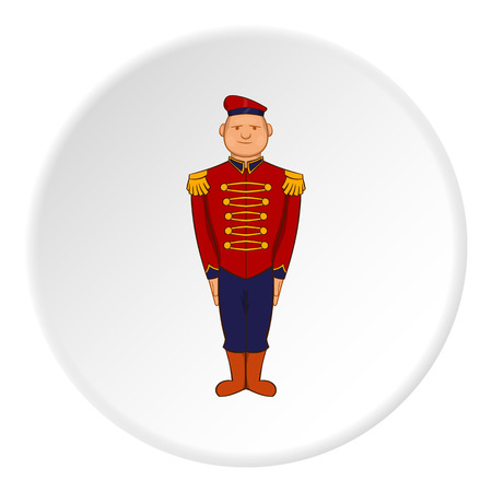 sergeant: British soldier in uniform icon in cartoon style isolated on white circle background. Military symbol vector illustration