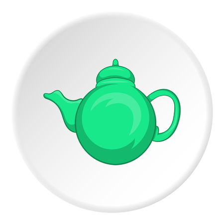 Kettle icon in cartoon style isolated on white circle background. Dishes symbol vector illustration Illustration