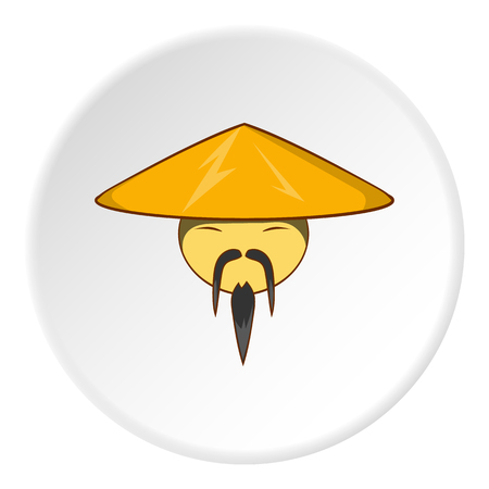 Asian man in hat icon in cartoon style isolated on white circle background. People symbol vector illustration