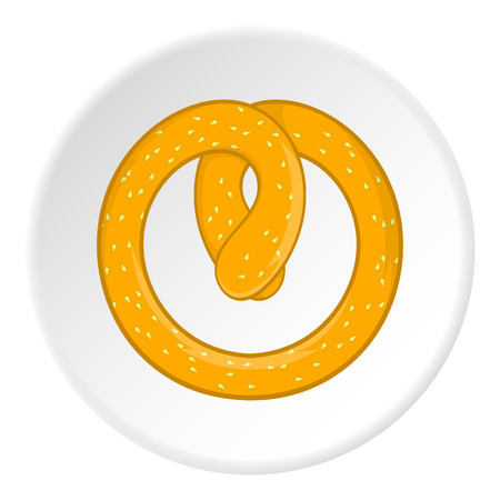 Flour pretzel icon in cartoon style isolated on white circle background. Food symbol vector illustration