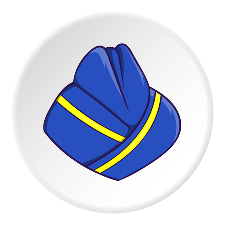 Hat stewardess icon in cartoon style isolated on white circle background. Headdress symbol vector illustration Illustration