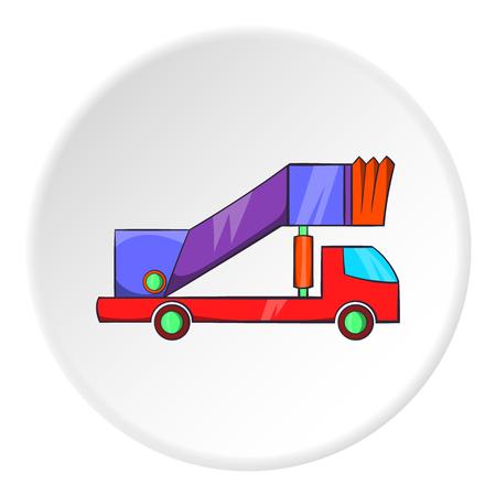 Passenger gangway icon in cartoon style isolated on white circle background. Transport symbol vector illustration Illustration