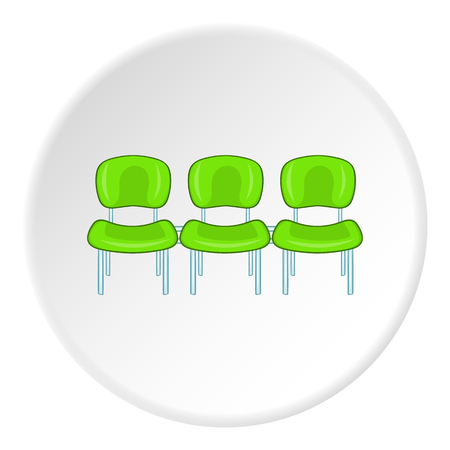 Chairs at airport icon in cartoon style isolated on white circle background. Sit symbol vector illustration