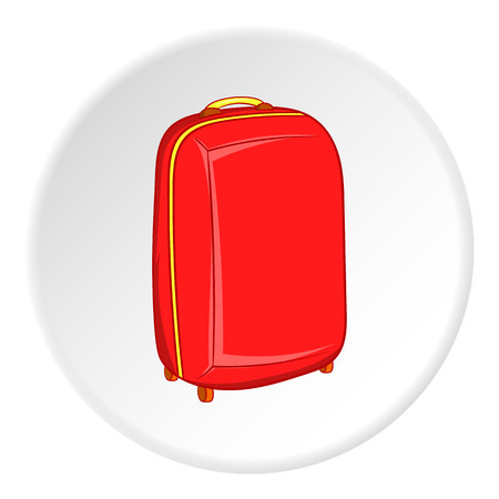 luggage carrier: Suitcase on wheels icon in cartoon style isolated on white circle background. Luggage symbol vector illustration