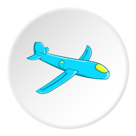 Childrens plane icon in cartoon style isolated on white circle background. Games and toys symbol vector illustration Illustration