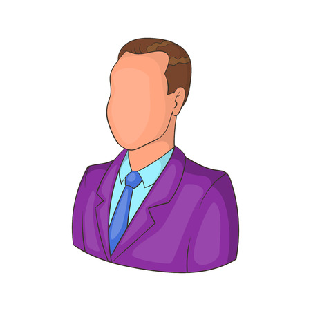 Businessman or manager icon in cartoon style isolated on white background vector illustration