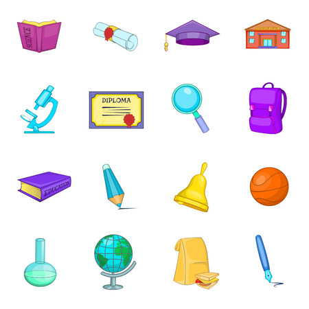 Education icons set. Cartoon illustration of 16 education science vector icons for web