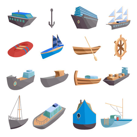 waterway: Sea transport icons set. Cartoon illustration of 16 sea transport vector icons for web