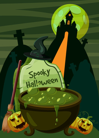 haloween: Halloween spooky cauldron concept. Cartoon illustration of Haloween spooky cauldron vector concept for web