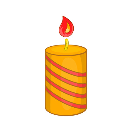 Burning candle icon in cartoon style isolated on white background vector illustration